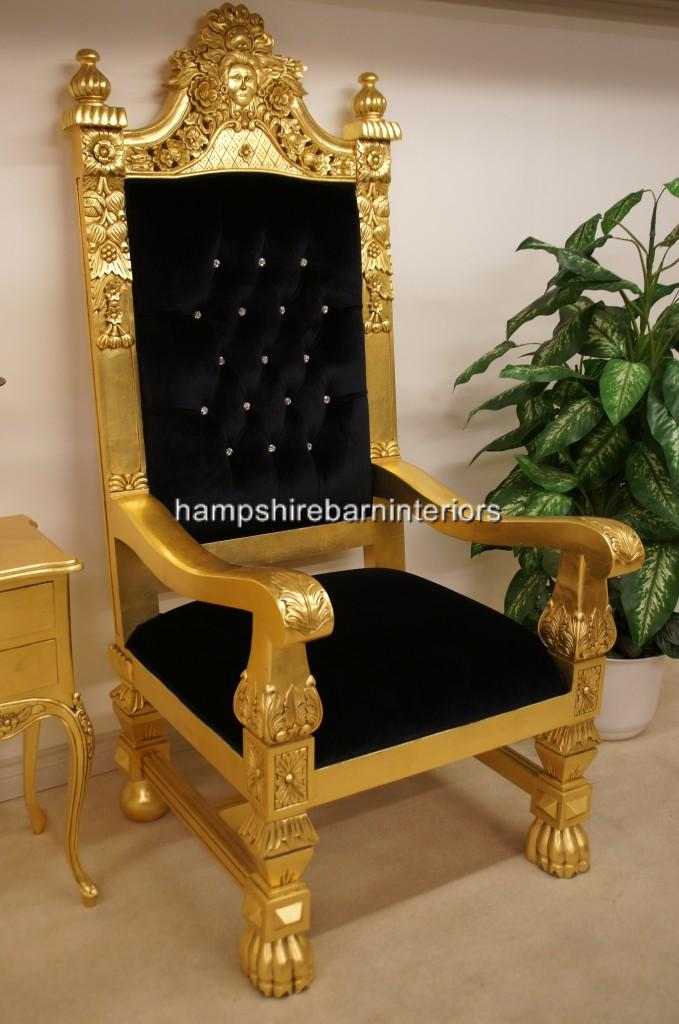 Small Couch Bed A Queens Throne Chair..gold Leaf, Black Velvet And Diamond