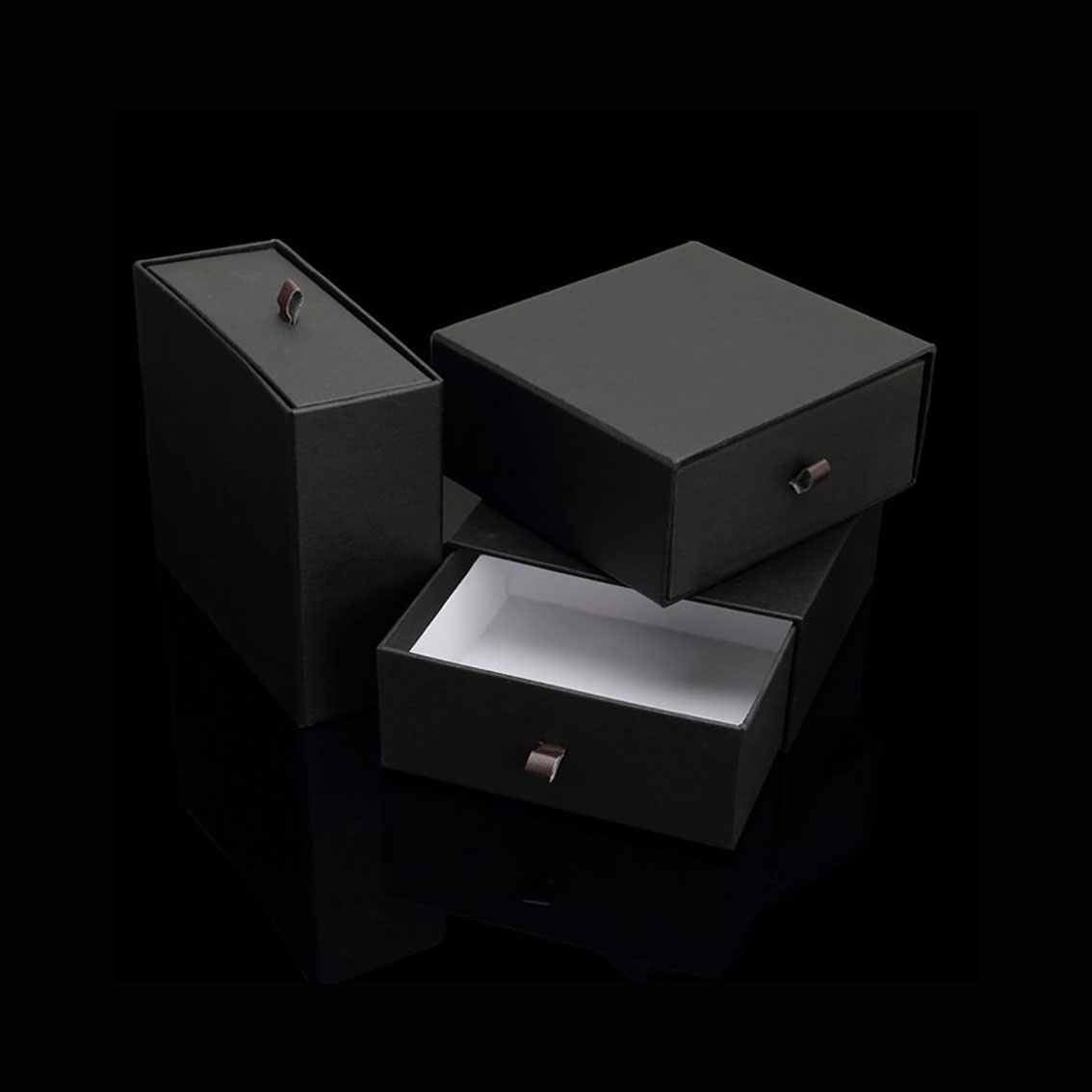 Black Gift Boxes Luxury Premium Quality Black Paper Drawer Box