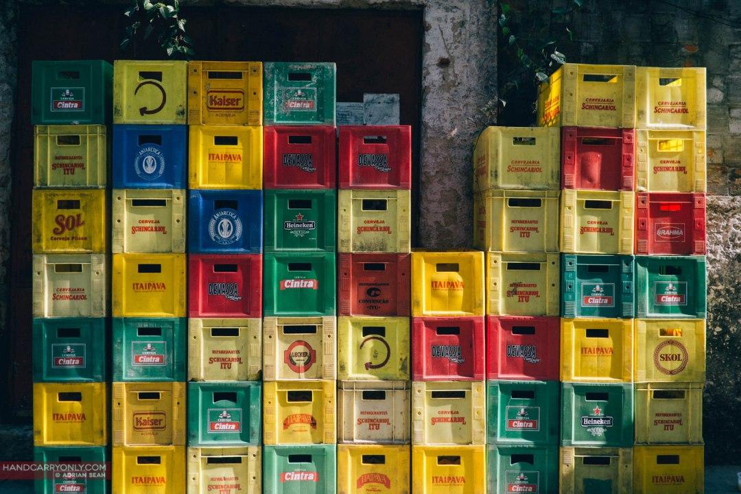 colourful beer crates in rio de janeiro brazil