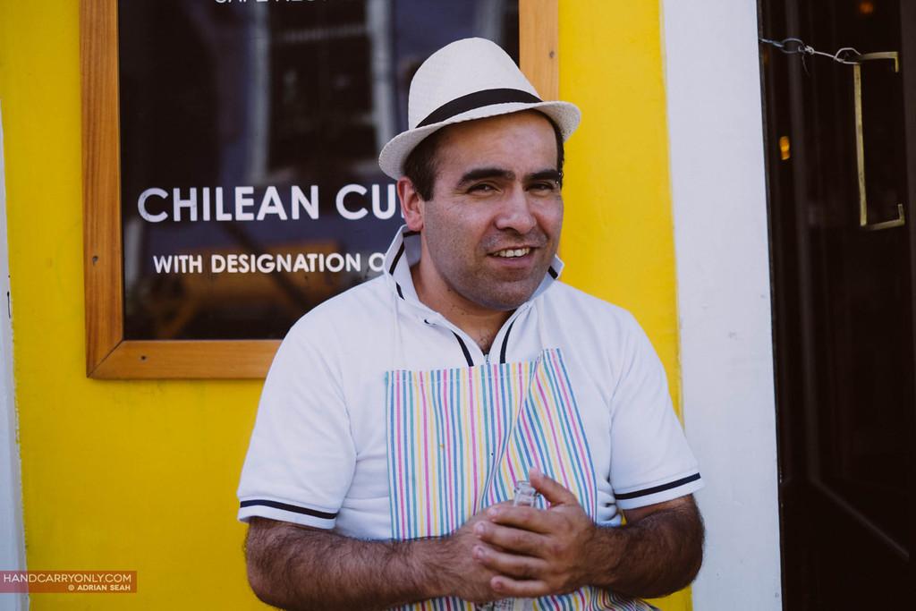 chilean chef advertises restaurant, valparaiso chile