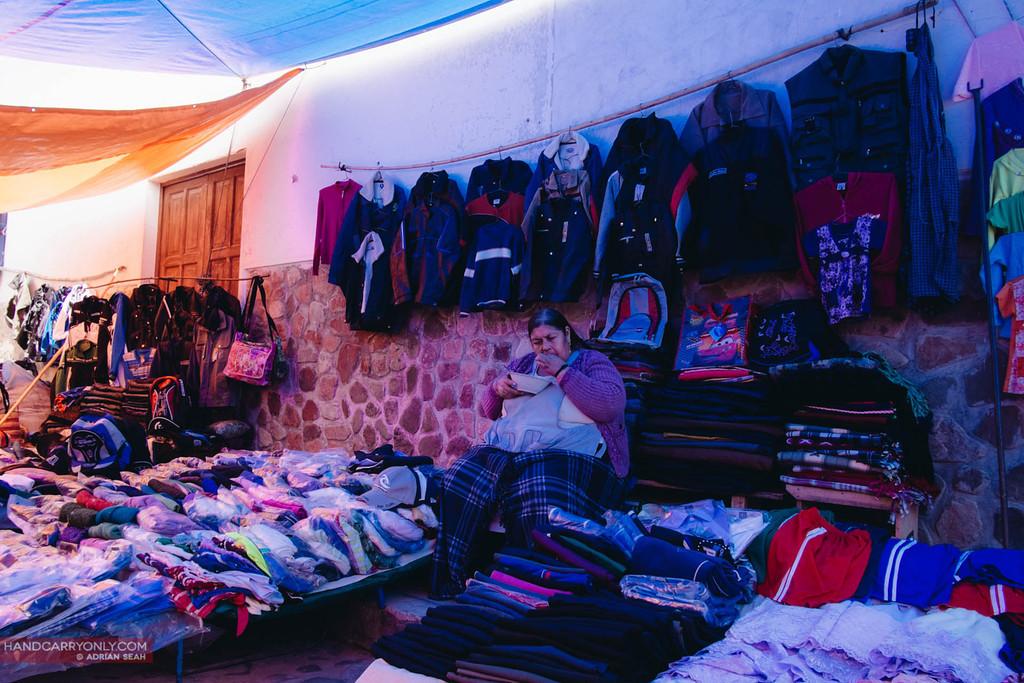 fat lady selling goods, tarabuco, bolivia