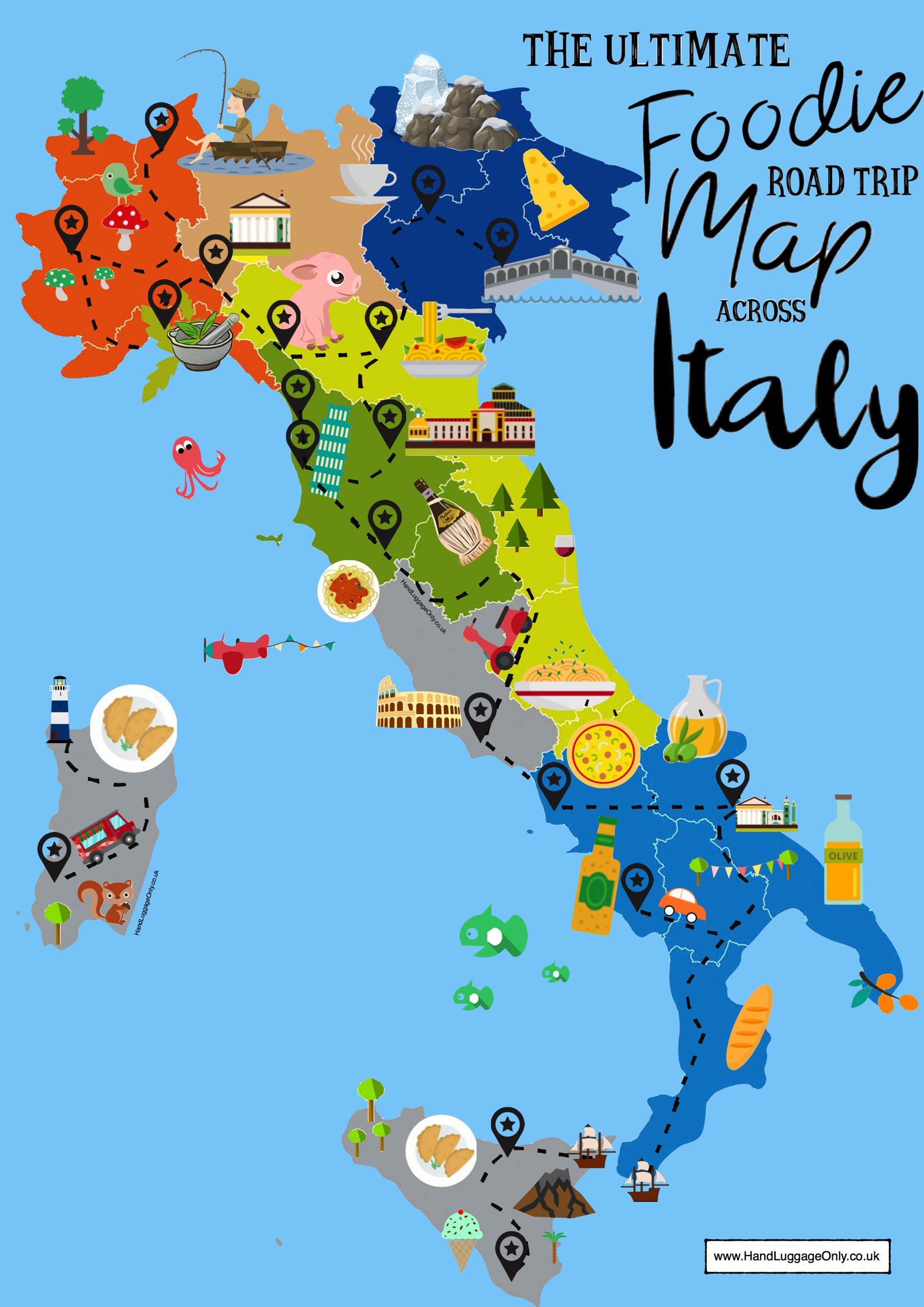Travel Blog With Map The Ultimate Map Of What To Eat In Italy And Where Hand