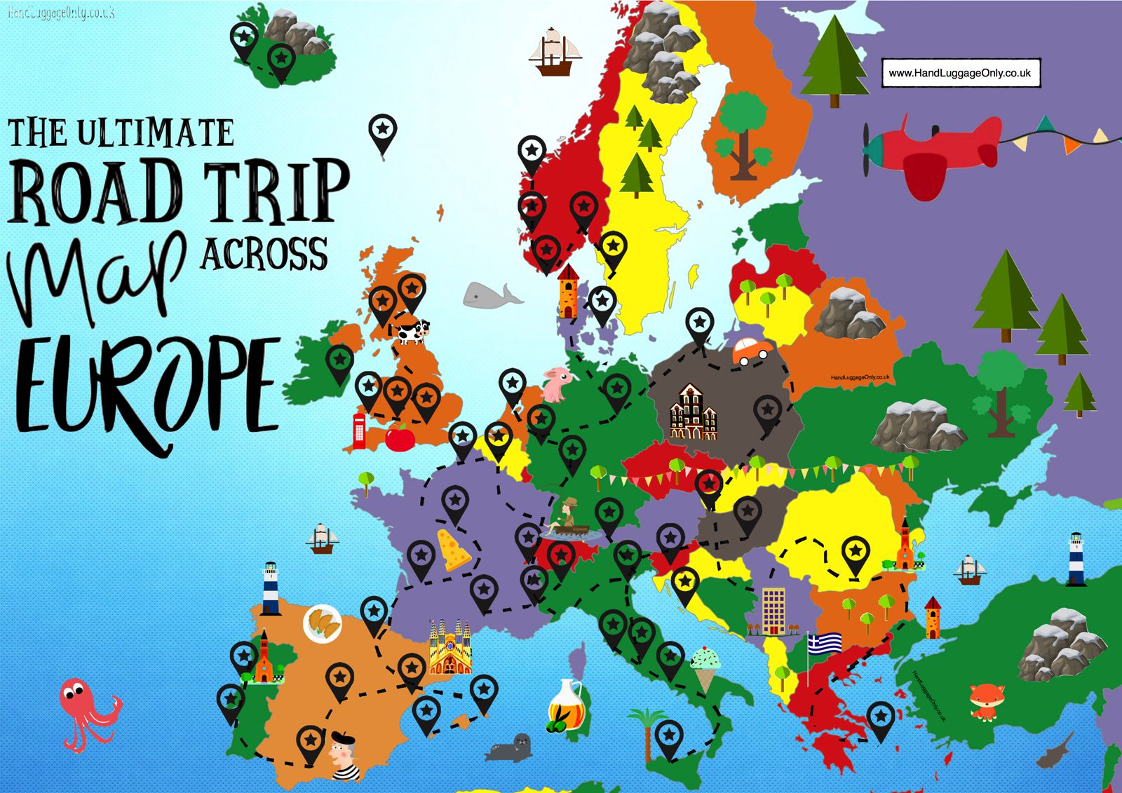 Travel Blog With Map The Complete Europe Road Trip Map 49 Places To Visit And