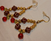 Red and Gold Beaded Earrings on Handmade Artists' Shop