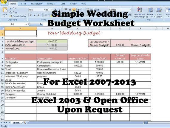 Wedding Budget Template For Excel 2013Wedding Budget Template - sample wedding budget