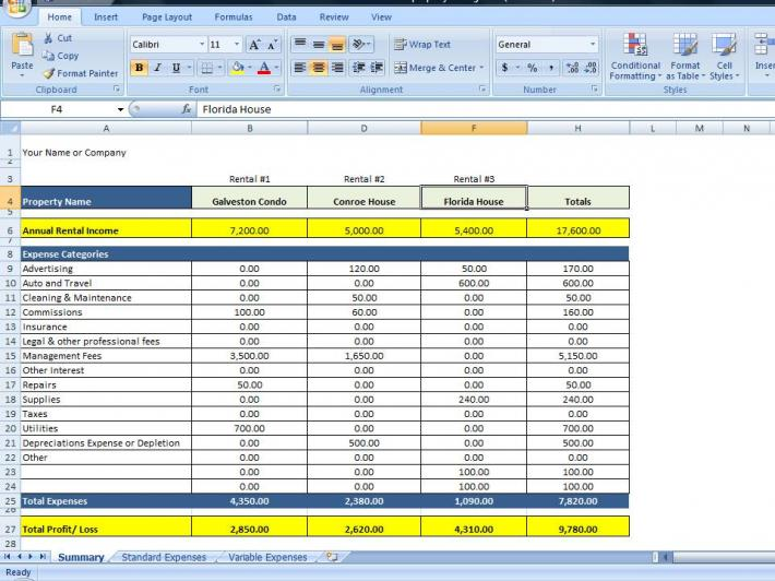 Property Management Spreadsheet Excel Template for Tracking Rental - Income Template