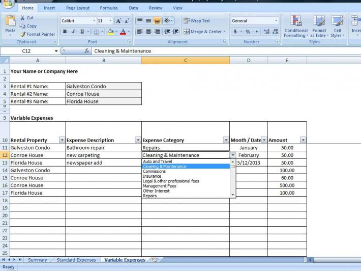 Property Management Spreadsheet Excel Template for Tracking Rental - rental management template