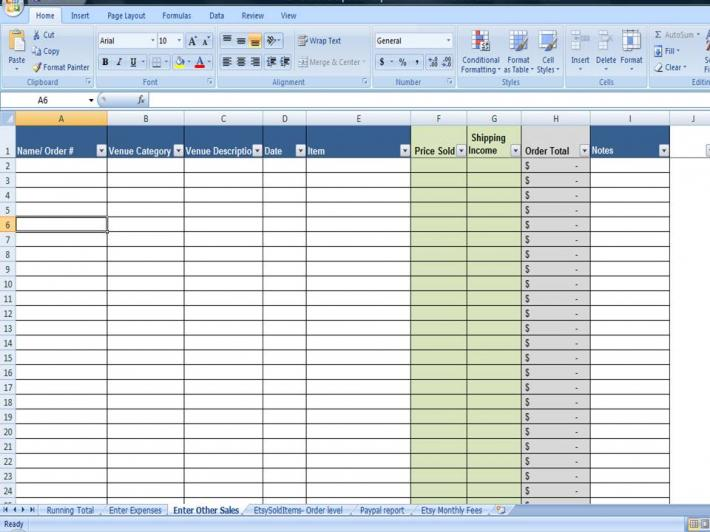 Business Financial Printables Shop Sales and Expenses Spreadsheet on