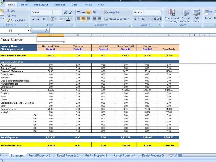 Landlords Spreadsheet Template Rent and Expenses Worksheet for - rental management template