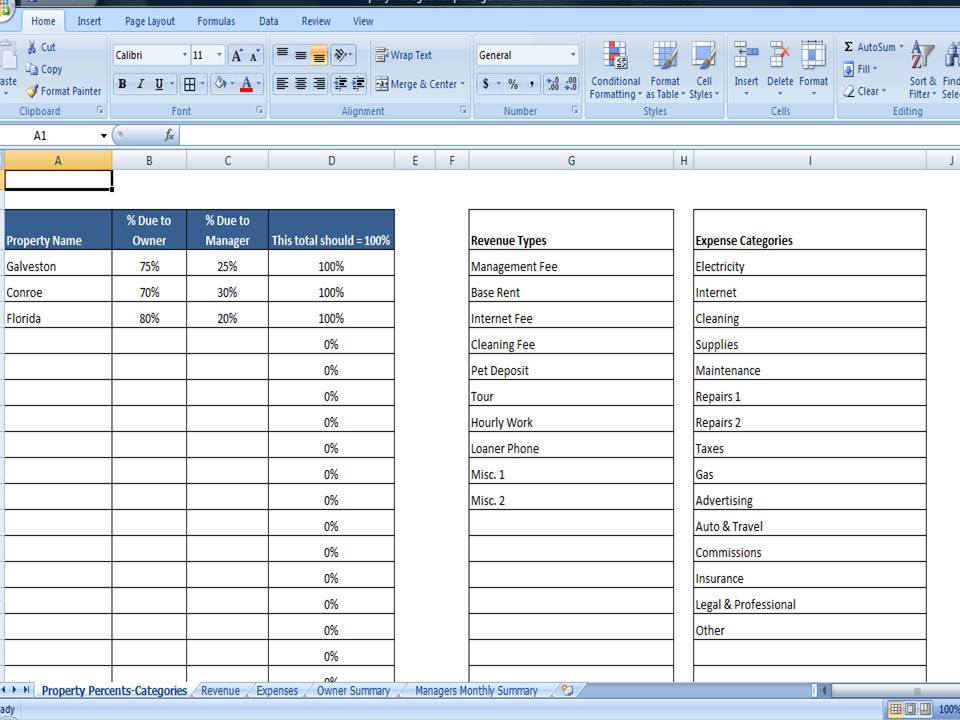 Property Managers Template Rent Income and Expense Tracking - expense tracking template