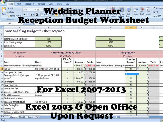 Printable Wedding Venue and Reception Budget Planner on Handmade