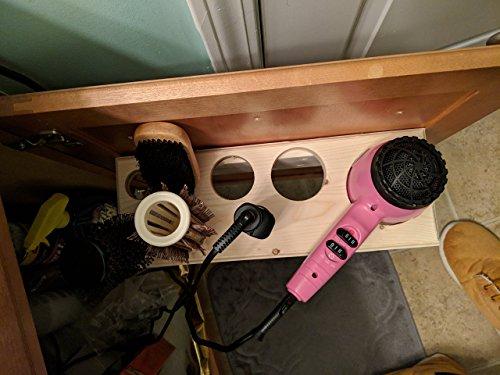 Wooden Blow Dryer And Brush Holder Handmade Finest