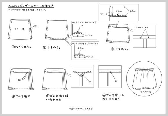 ふんわりギャザースカートの作り方