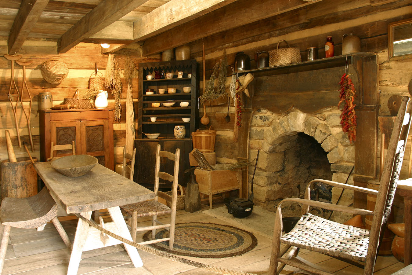 Arched Stone Fireplace In An Old Log Cabin Handmade