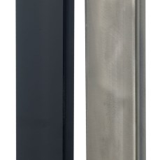 Powder coated black or raw steel finishes