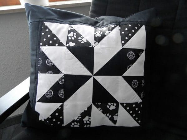 Patchwork Kissenbezug Patchwork Sternkissen - Lone Star Black And White