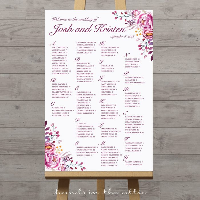 Printable Wedding Seating Charts Floral, Rustic, String Lights