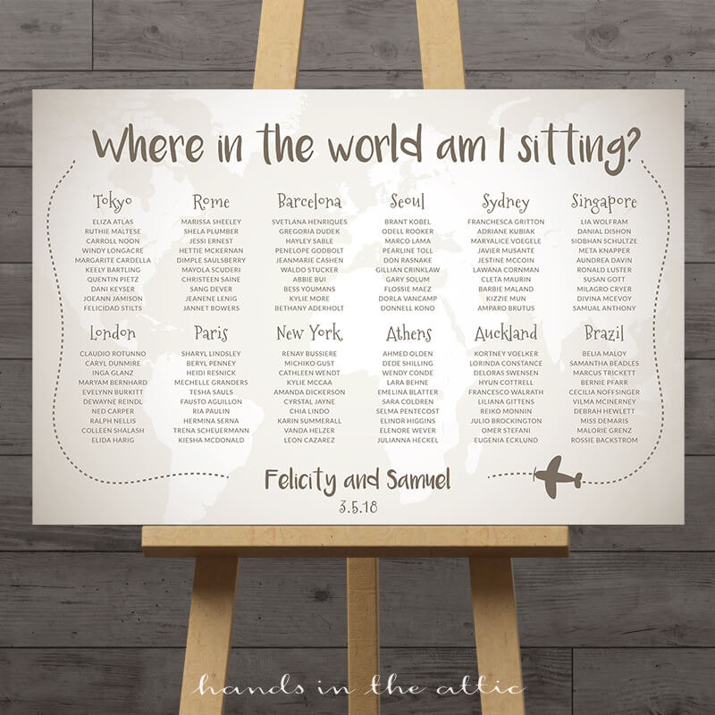 World Travel Wedding Seating Chart Hands in the Attic