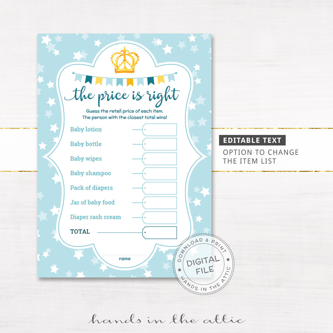 Cozy Blue Baby Boy Prince Price Is Editable Baby Shower Price Is Right Baby Shower Game Editable Printable Price Is Right Baby Shower Game Directions Price Is Right Baby Shower Game How To Play Image baby shower Price Is Right Baby Shower Game