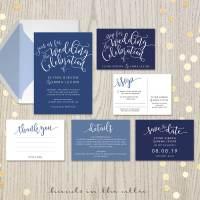 Navy Blue Wedding Invitation Set   Printable Stationery ...