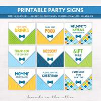 Bow Tie Baby Shower Signs | Printable Stationery ...