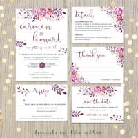 Wine Wedding Invitation Set   Printable Stationery ...