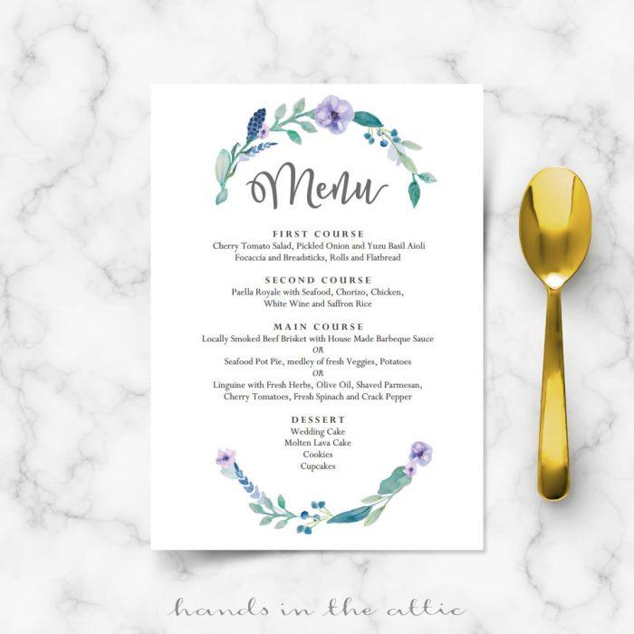 Blue Floral Wedding Food Menu Template Wedding Menu Cards Hands