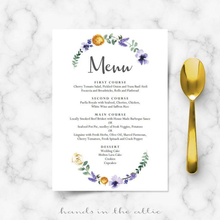 Fall Wedding Dinner Menu Template Wedding Menu Cards Hands in - wedding menu template