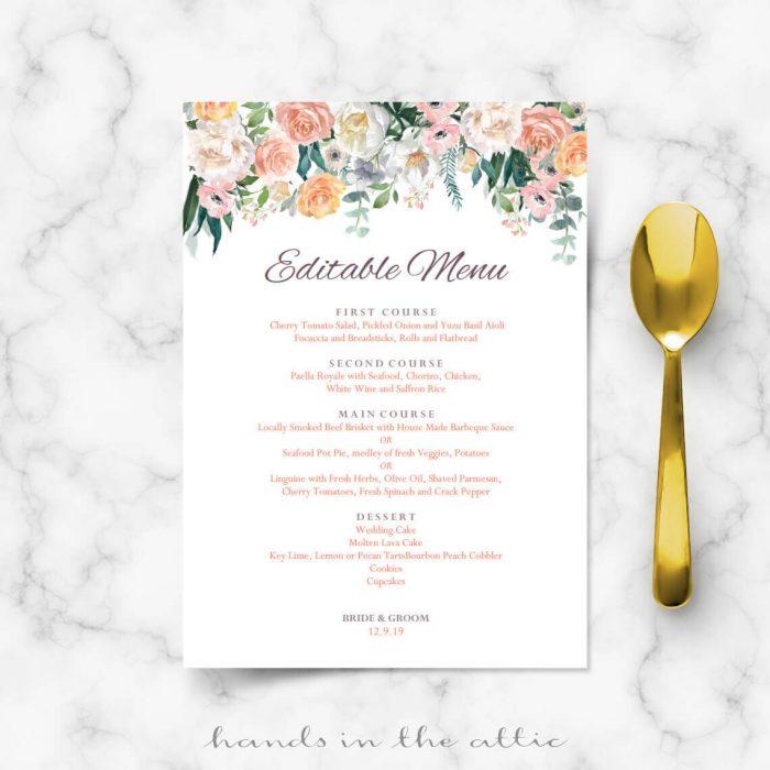 Navy Blue and Gold Wedding Menu Template Reception Menu Cards - wedding menu template