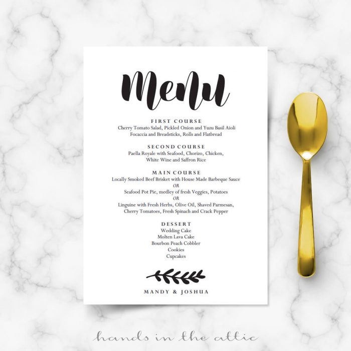 Simple Wedding Menu Card Printable Templates Hands in the Attic
