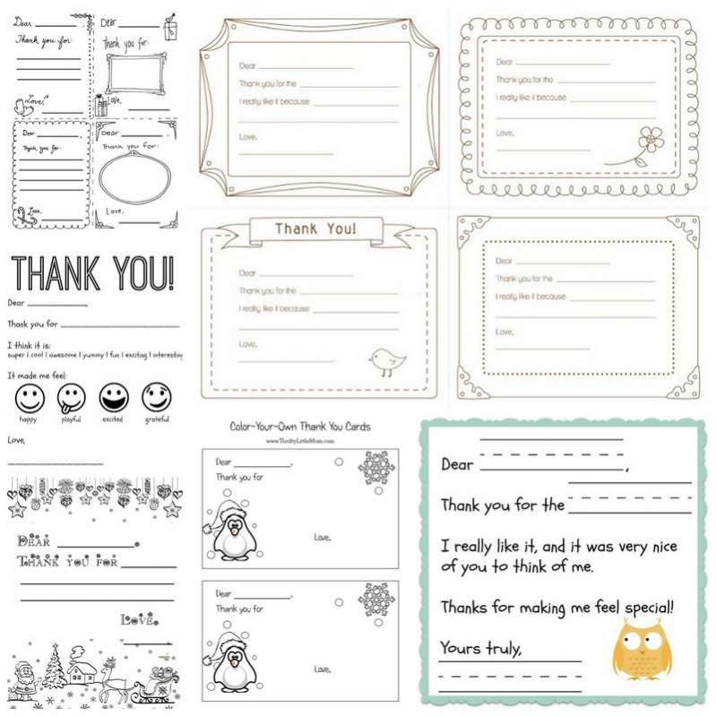 Printable Thank You Cards for Kids to Write Hands On As We Grow