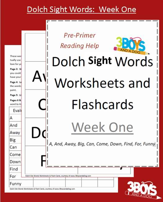 Dolch Sight Words Worksheets from 3 Boys and a Dog - dolch sight word flashcards