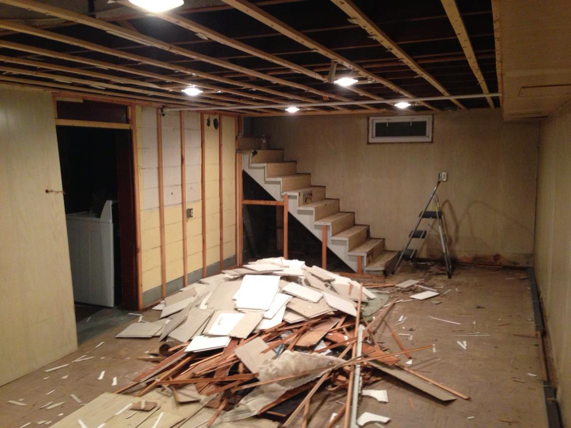 How To Build Floating Stairs Gut The Basement Prepare For Floating Stairs Handy Father
