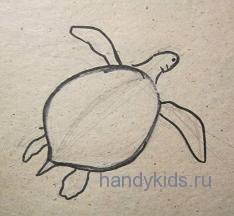 Рисуем веслообразные лапы черепахи