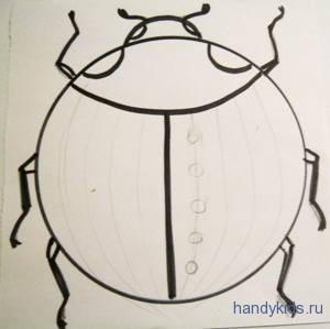 Распределяем точки по крыльям жука