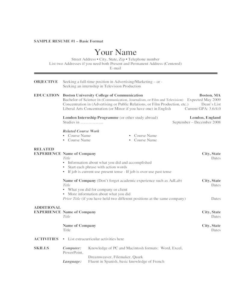 resume sample related course work