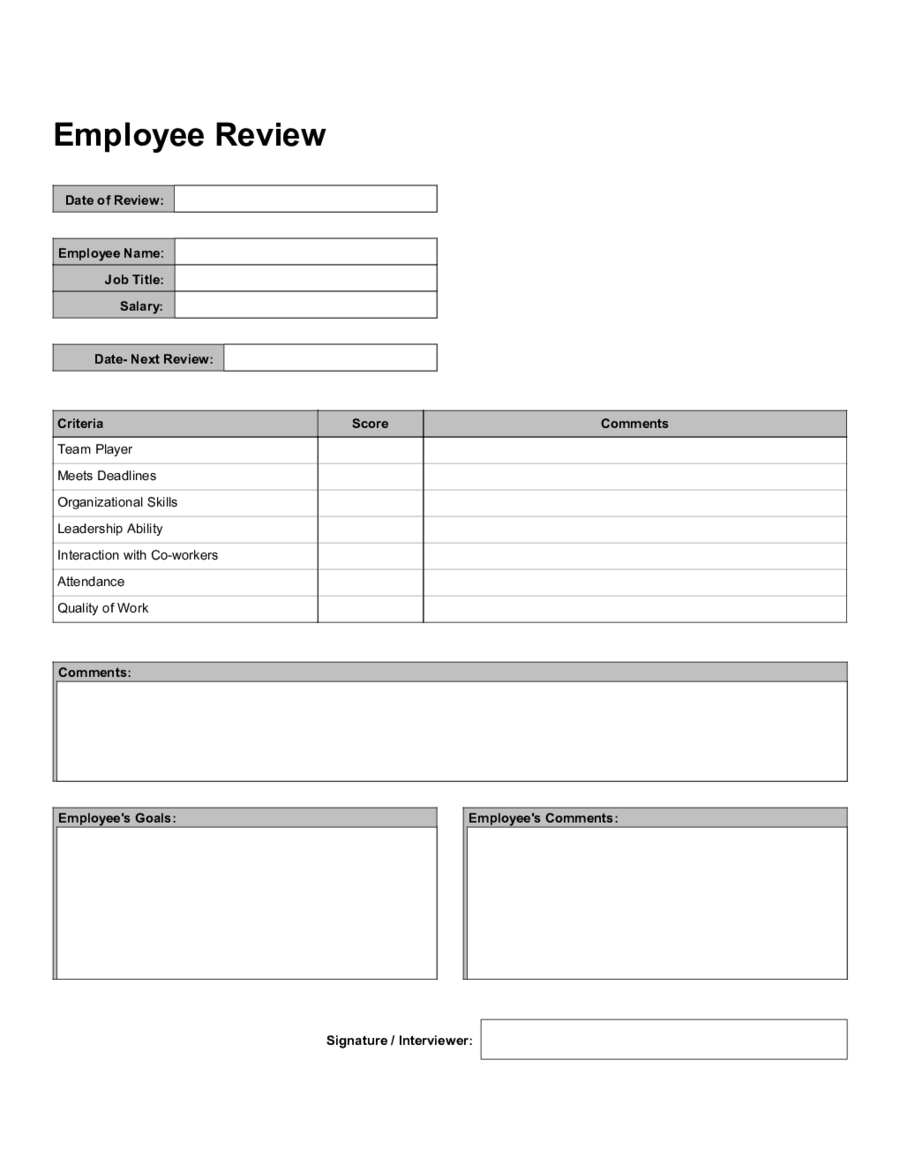 employee yearly review forms