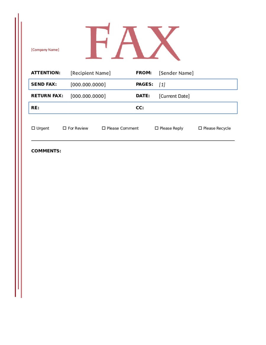 microsoft fax cover sheet template word 2003
