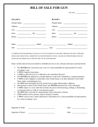 2018 Firearm Bill of Sale Form - Fillable, Printable PDF ...
