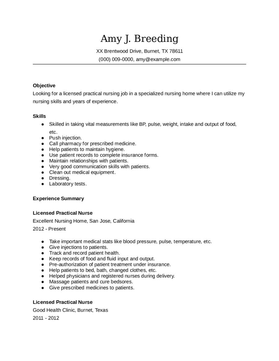 lpn resume sample pdf