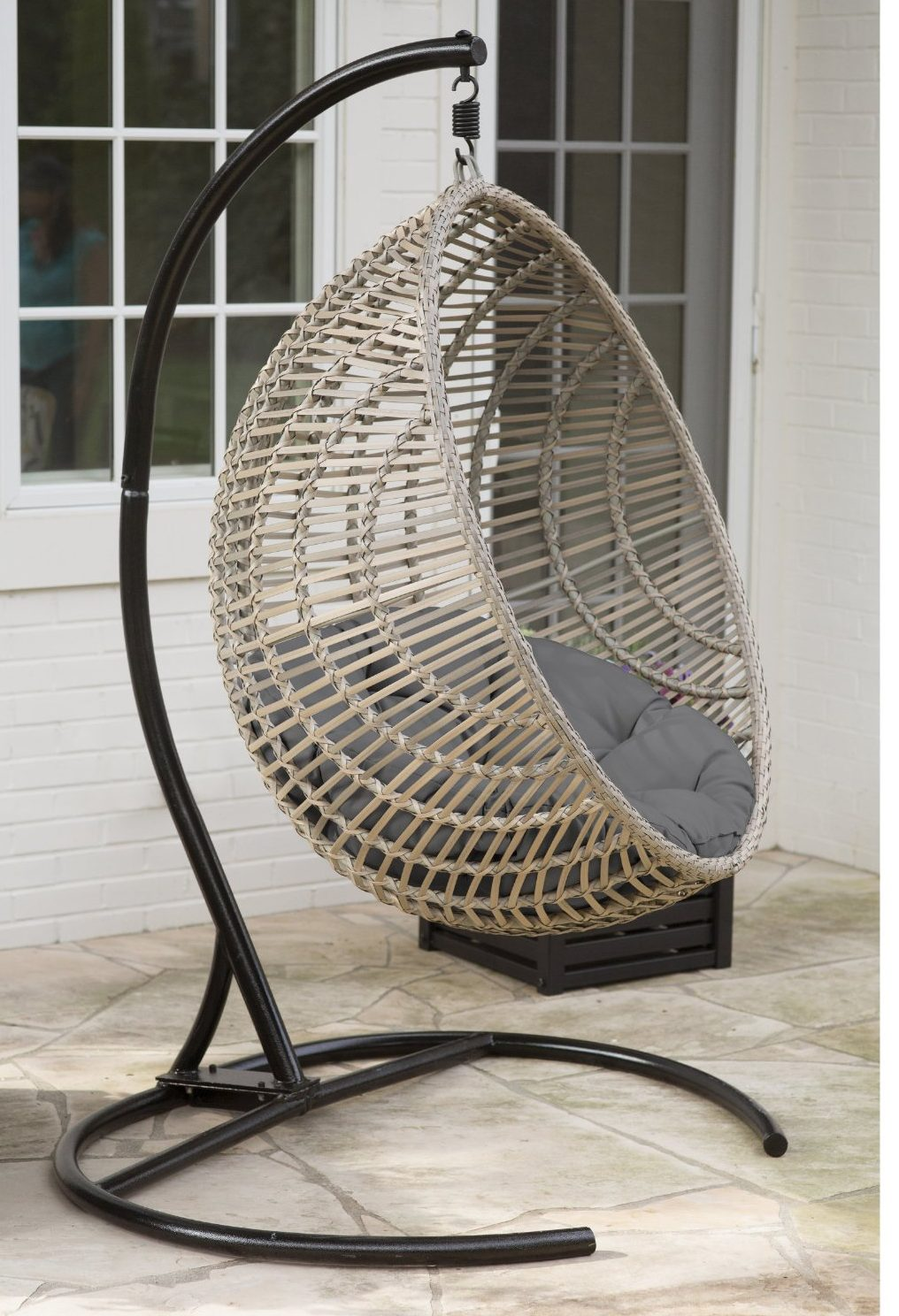 Hanging Outdoor Chairs Review Wicker Hanging Chair With Stand By Island Bay