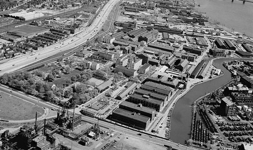 Black and white aerial photograph of the Frankford Arsenal C.1900