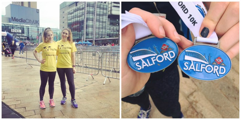 Two girls running salford 10k and medals