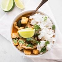 Thai Red Curry Pork and Crispy Tofu