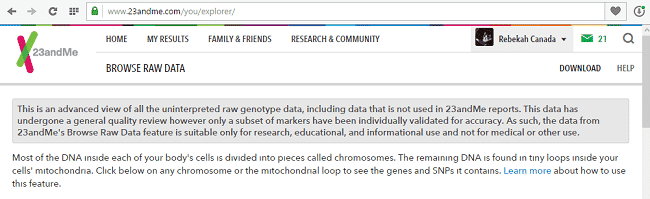 23andMe mtDNA Results download 4