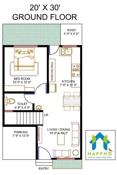 Floor Plan for 20 X 30 Feet Plot | 1-BHK (600 Square Feet/67 Sq Yards) Ghar-001 - Happho