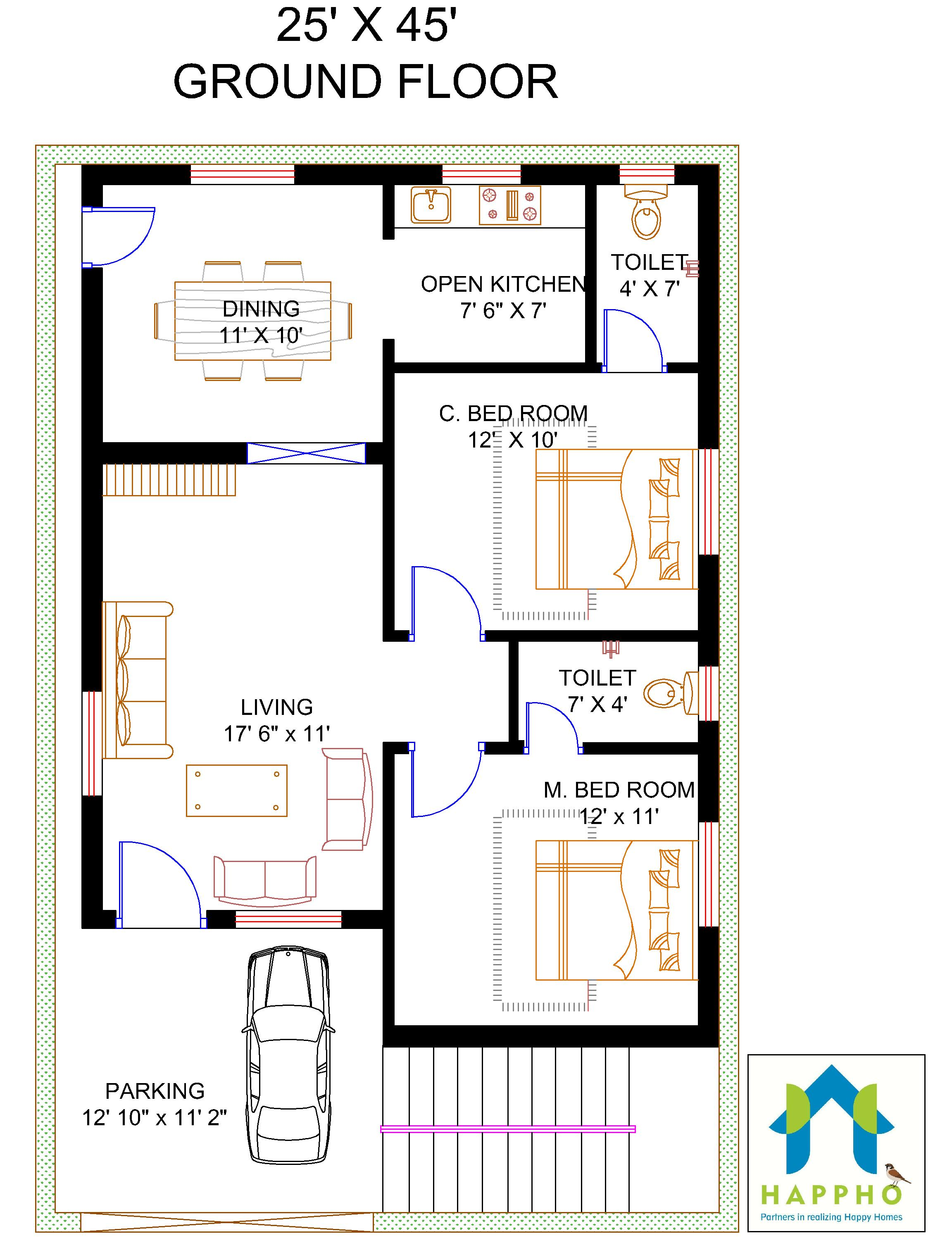 20 X 40 2bhk Plan West Face Explain In Hindi Floor Plan For 25 X 45 Feet Plot | 2-bhk (1125 Square Feet