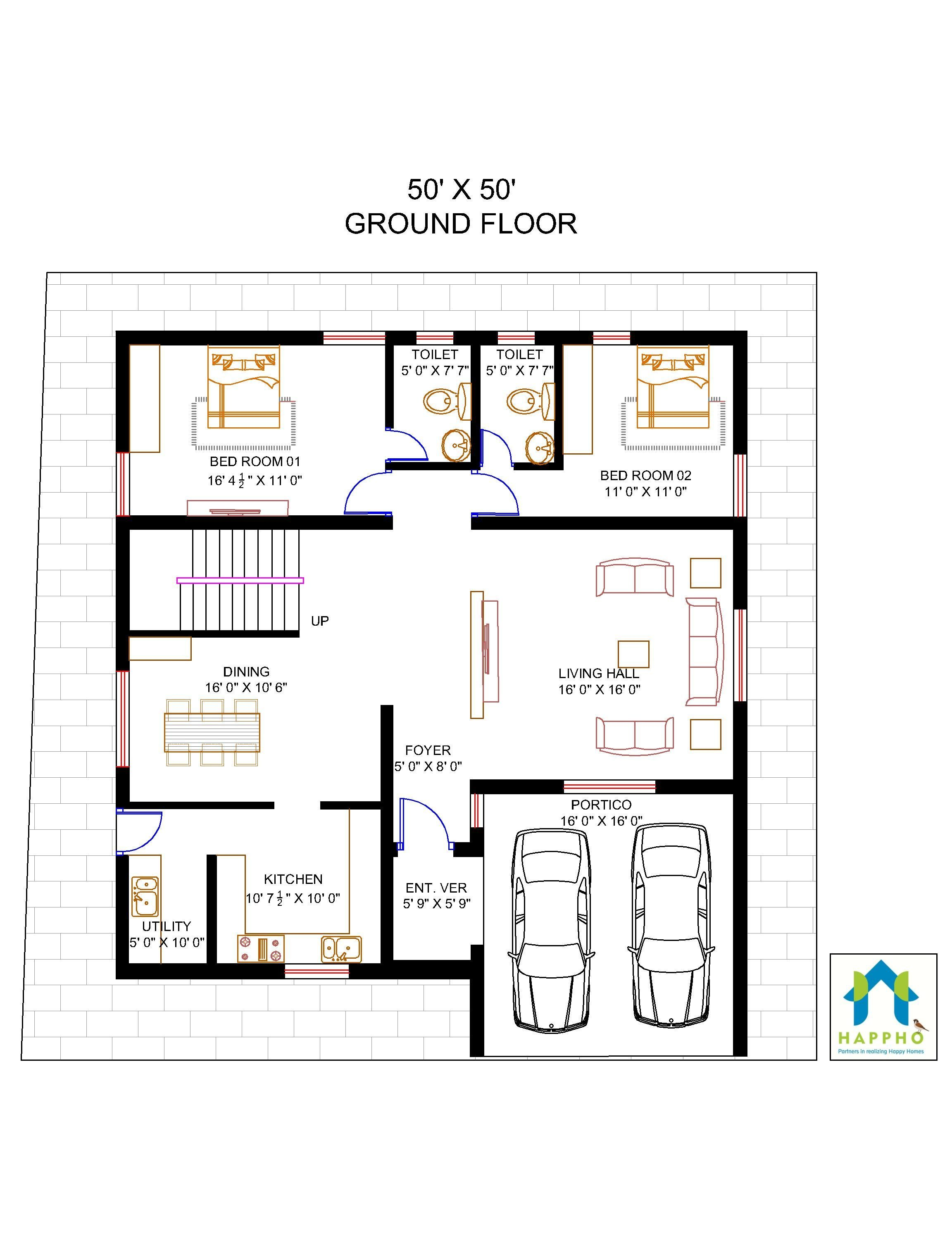 Flat Plan Floor Plan For 50 X 50 Plot 5 Bhk 2500 Square Feet 278