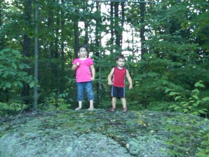 Playing with AJ on Big Rock at Grena's 2009