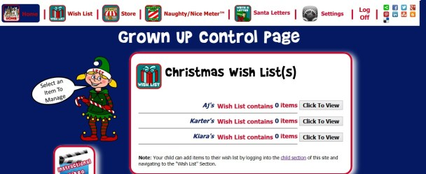 The Christmas Registry Grown Up page